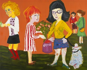 mythological painting n.2 (psiche showing her sisters her gifts from cupid) by martin maloney