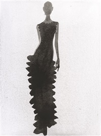alaia illustration #1 (long black dress) by mats gustafson