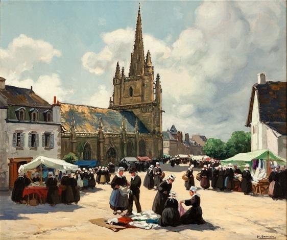 a brittany market by henri alphonse barnoin