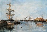 bateau en rade by edmond marie petitjean