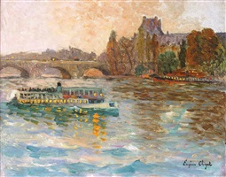 le louvre, bateau-mouche sur la seine by eugène chigot