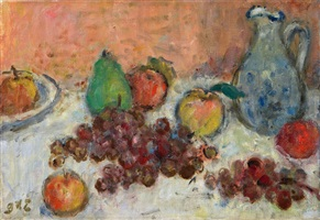 assiette de fruits à la cruche bleu by georges d'espagnat