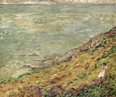 promeneuse au bord de la mer by louis valtat