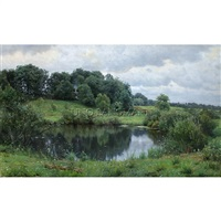calm waters at ordrup farm by peder mork monsted