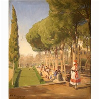 summer day in villa borghese in rome by hans andersen brendekilde