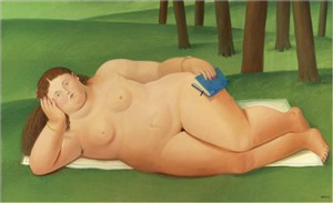 reclining nude with book by fernando botero