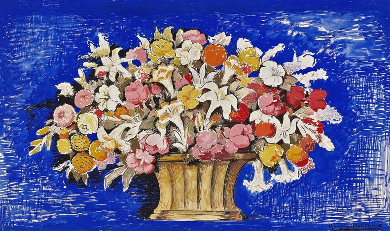 canasta de flores (blue symphony) by alfredo ramos martínez