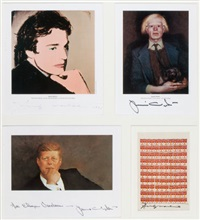 portraits of each other, coe kerr gallery (collab. w/jamie (james browning) wyeth) (4 works in 1 frame) by andy warhol and jamie wyeth