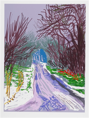 the arrival of spring in woldgate, east yorkshire in 2011 (twenty eleven) - 4 january by david hockney