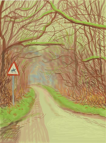 the arrival of spring in woldgate, east yorkshire in 2011 (twenty eleven) - 14 march by david hockney