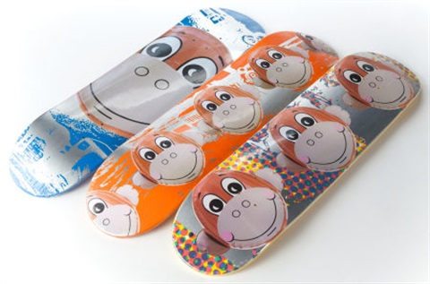 monkey train skate decks suite of 3 by jeff koons
