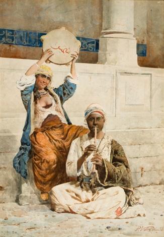 orientalist scene in istanbul by p valeri