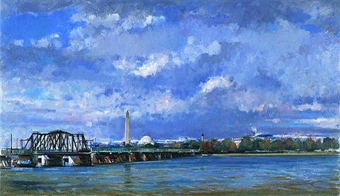 looking north, trestle bridge over the potomac by martin j. kotler