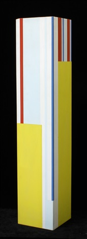 square column, yellow planes, blue and red by ilya bolotowsky