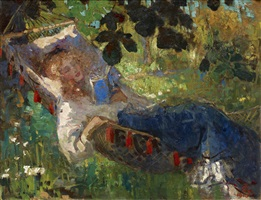 reading girl in a hammock by robert archibalt graafland