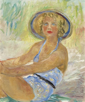 blonde assise en maillot de bain by charles camoin