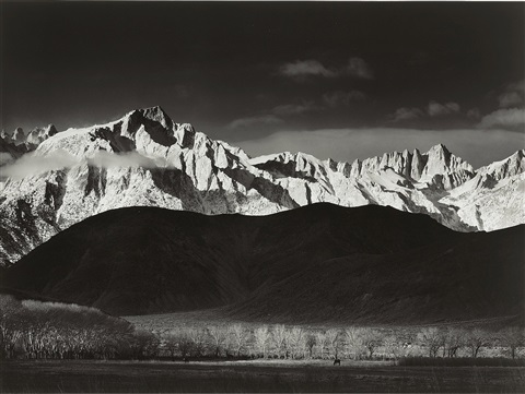 winter sunrise from lone pine, sierra nevada by ansel adams