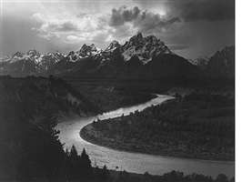 the grand tetons and the snake river, grand teton national park, wyoming by ansel adams