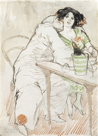caféscene with a pierrot by leo gestel