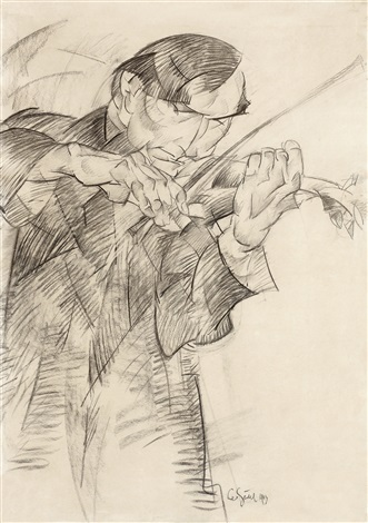 portrait of the violist dirk gootjes by leo gestel