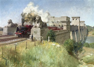 royal scot on the britannia bridge, menai straits by terence cuneo