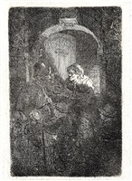 woman at a door hatch talking to a man by rembrandt van rijn