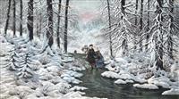 a snow scene by laszlo neogrady