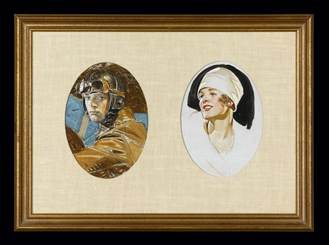 aviator and woman in a white hat by joseph christian leyendecker