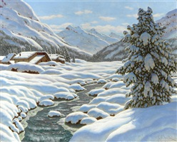 winter scene in the alps by ivan fedorovich choultsé