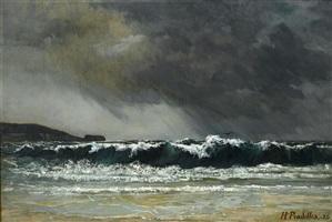 la plage d'hendaye, tempête du 2 septembre 1883 by hippolyte pradelles