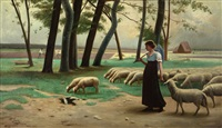la gardienne de moutons (the keeper of the sheep) by henry lerolle