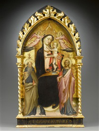 madonna and child enthroned, crowned by two angels with saints anthony abbot and james major by marco giovanni da ponte bassano