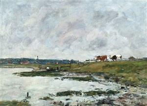 landscape with cows by eugène boudin