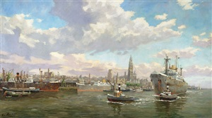 ships in harbor by edmond francois heirman