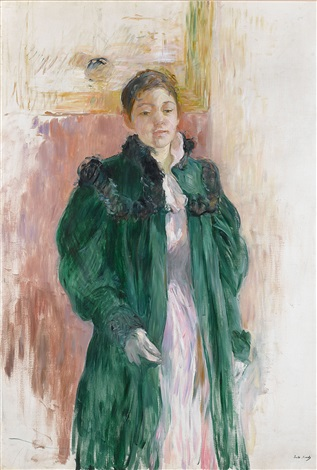 jeunne fille au manteau vert (girl in a green coat) by berthe morisot