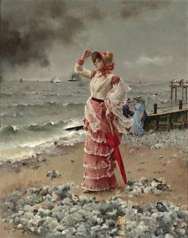femme élégante voyant filer un vapeur by alfred stevens