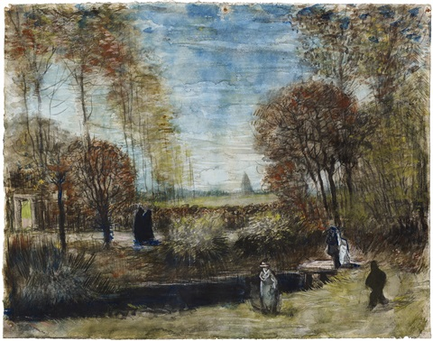 the vicarage garden with figures, nuenen by vincent van gogh