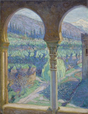 view at the alhambra and sierra nevada by julián gomez fraile