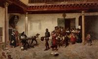 peasant street scene by joaquín araujo ruano
