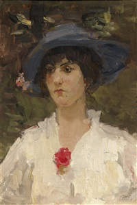 portrait of a woman in a white blouse by isaac israels