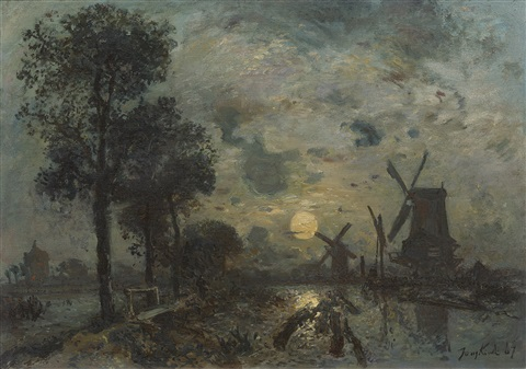 mills in moonlight near rotterdam by johan barthold jongkind