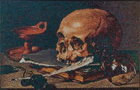 still life with a skull and writing quill interpreted, injection by bradley hart