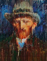 van gogh self portrait with gray felt hat interpreted, impression by bradley hart