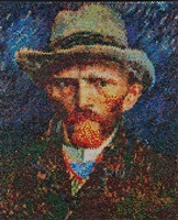 van gogh self portrait with gray felt hat interpreted, injection by bradley hart