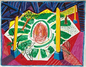 views of hotel well ii, from the moving focus series by david hockney