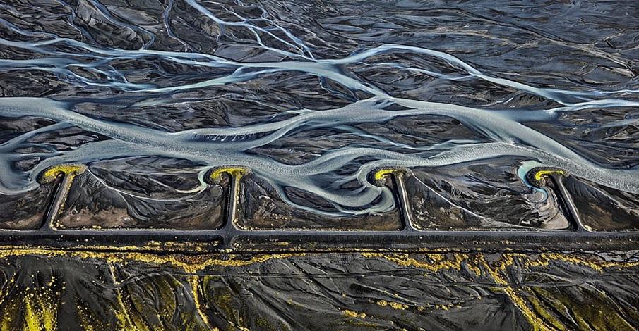 markarfljót river #3, erosion control, iceland by edward burtynsky