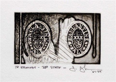 ale cans, from 1st etchings, 2nd state by jasper johns