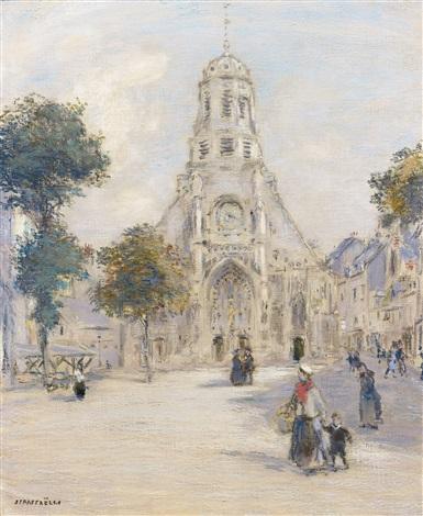église et place animée by jean françois raffaëlli