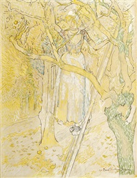 girl picking apples by jan toorop