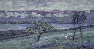 au bord du lac neuchâtel by emmanuel victor auguste marie de la villéon